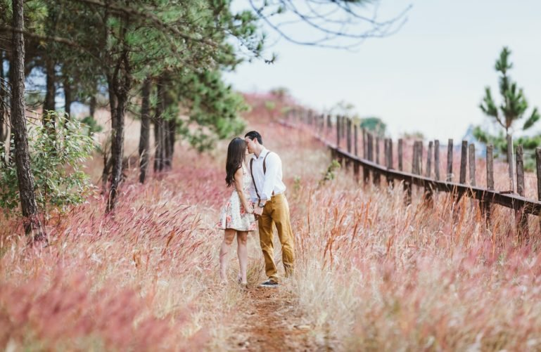 A couple kissing in a field