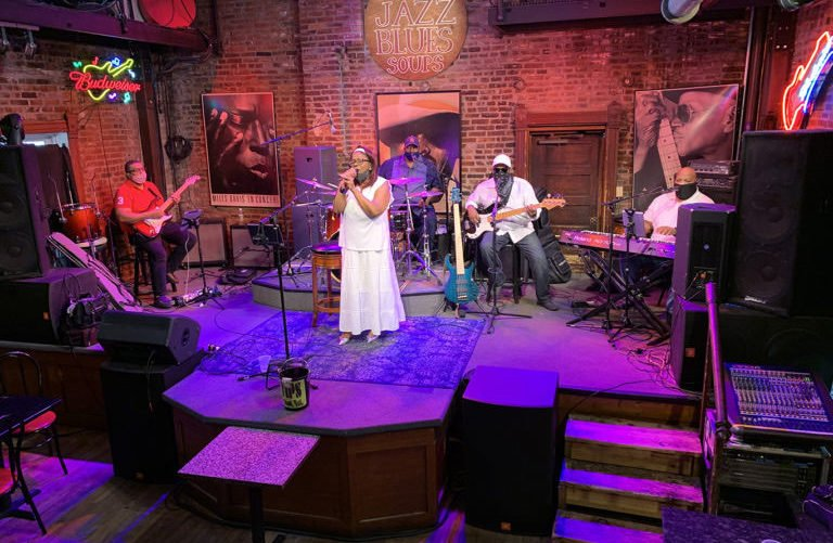 A woman performs at BB's Jazz, Blues & Soups