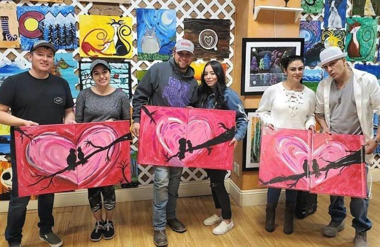 Couples at the Paint n Bubbly Social Art & Wine Studio, Pueblo