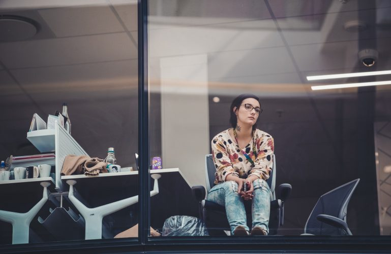 a bored woman in the office